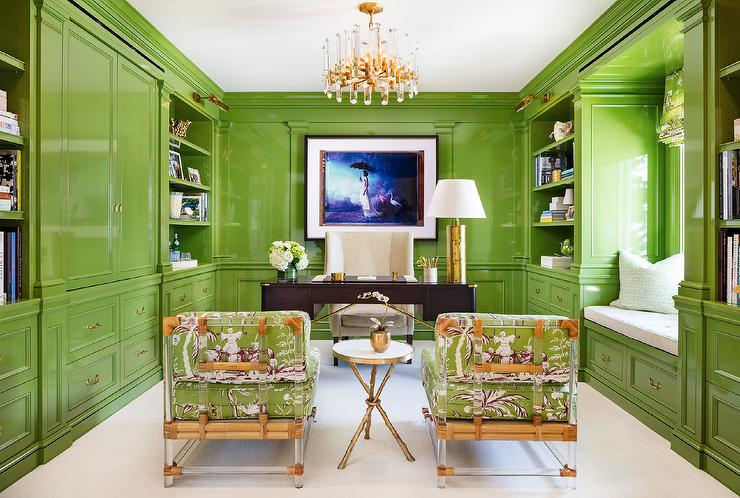 high-style acid-green lacquered home office
