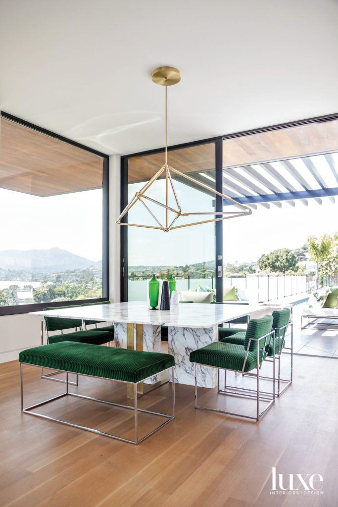 color of green on the dining chairs