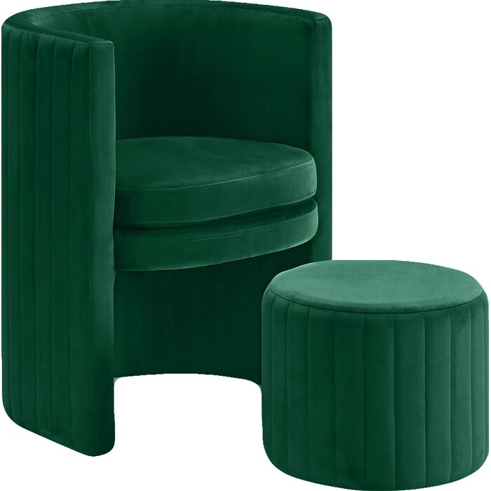 Green Modern Tufted Glam Accent Armchair