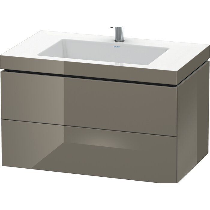 "Duravit Mediterranean Oak 32"" Wall-Mounted Single Bathroom Vanity Set dark grey"