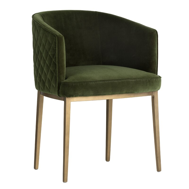 grenn tufted-back chair with gold metal frame