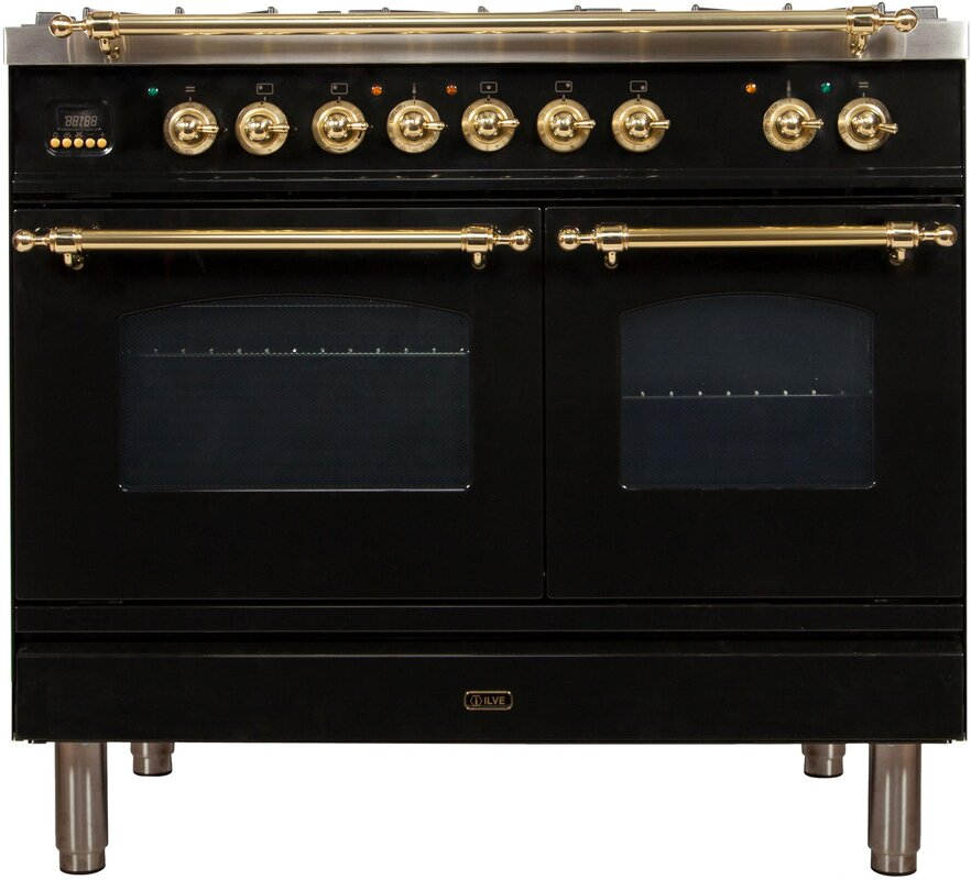 """French Style Black Nostalgie Series 40"""" 4 cu. ft. Freestanding Dual Fuel Range with Griddle With Brass Details"""