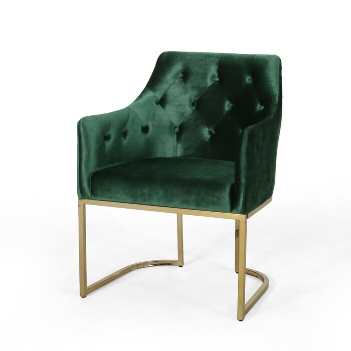 Green Modern Tufted Glam Accent Armchair With A Metal Brass Frame
