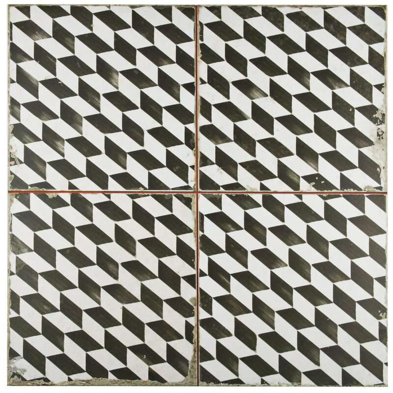 black-and-white geometric tile for wall and floor