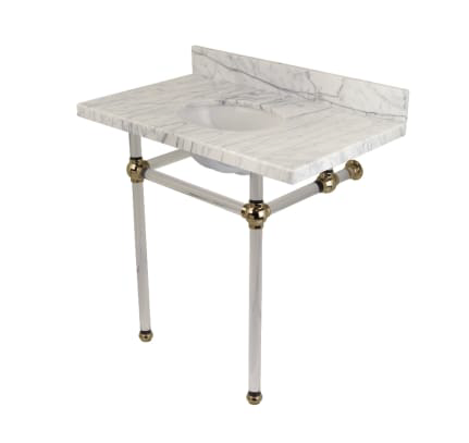 "Kingston Brass Templeton 36"" Oval Marble Wall Mounted Bathroom Console with Legs and 3 Faucet Holes at 8"" Centers with lucite legs"