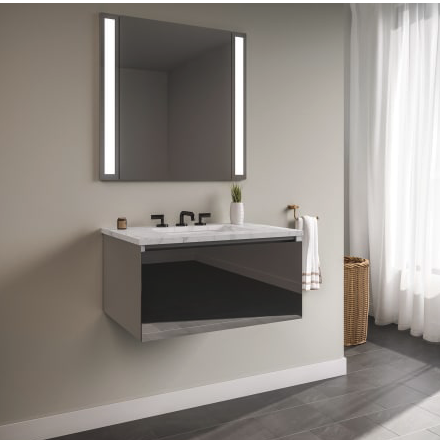 """RobernCurated Cartesian 24"""" Wall Mounted / Floating Single Vanity Set with 1 Drawer Aluminum Cabinet and Engineered Stone Vanity Top"""