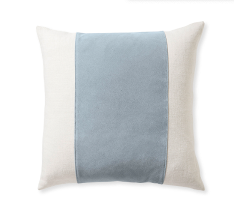 elegant linen pillow cover in powder blue suede stripe