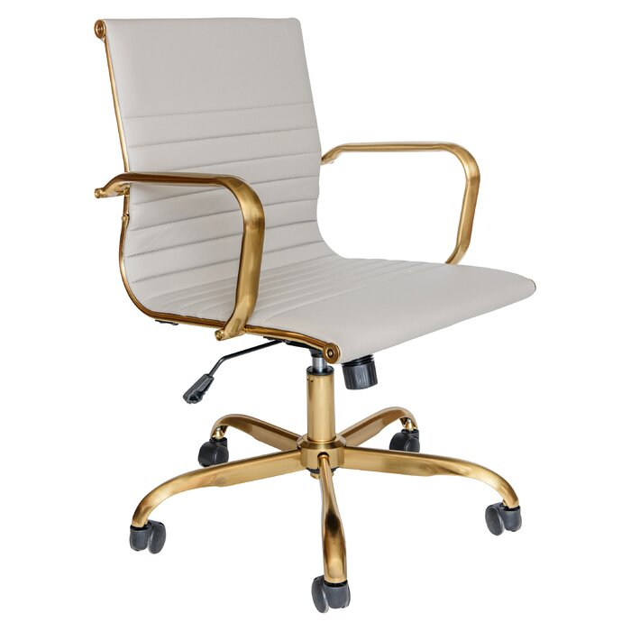Sorrells Ergonomic Conference Chair white and brass