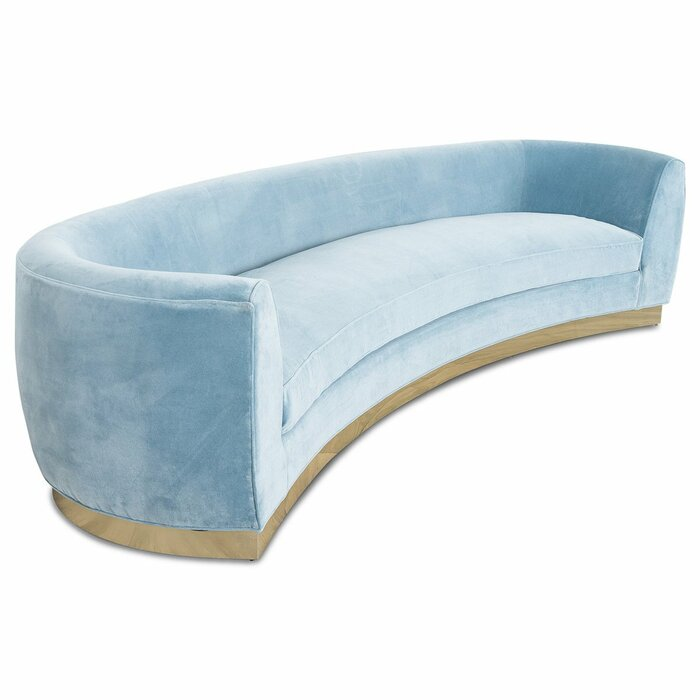 St. Germain Velvet Round Arm Curved Sofa in light blue and brass base