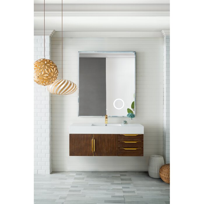 "Teillon 48"" Wall-Mounted Single Bathroom Vanity Set Brown And Brass"