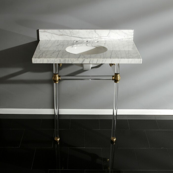 KVPB36MA7 Templeton Rectangular Console Bathroom Sink with Overflow with lucite legs