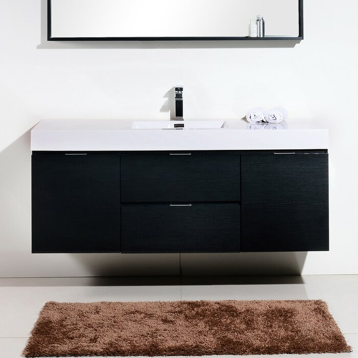"Tenafly 59"" Wall-Mounted Single Bathroom Vanity Set"