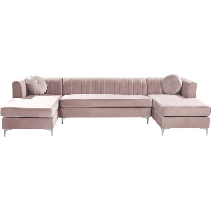 "Thandie 132"" Velvet Symmetrical Modular Sofa & Chaise in blush"