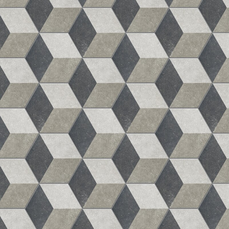 black-and-grey geometric tile for wall and floor
