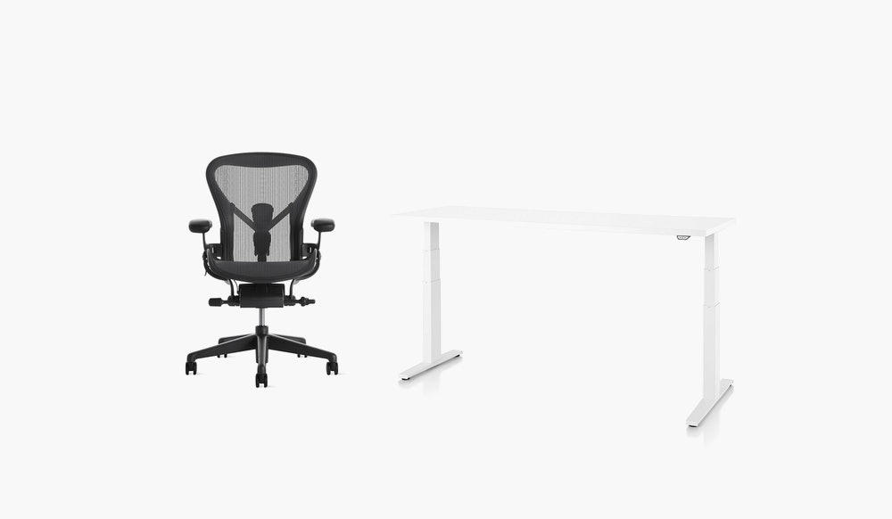 aeron chair and sit-and-stand deskat home