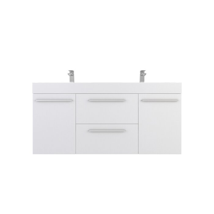 "Waldwick 54"" Wall-Mounted Double Bathroom Vanity Set"