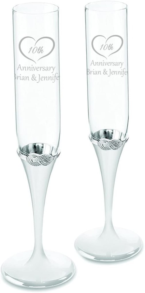Vera Wang Infinity Personalized Wedding Champagne Flutes, Set of 2 Custom Engraved Champagne Glasses for Bride and Groom