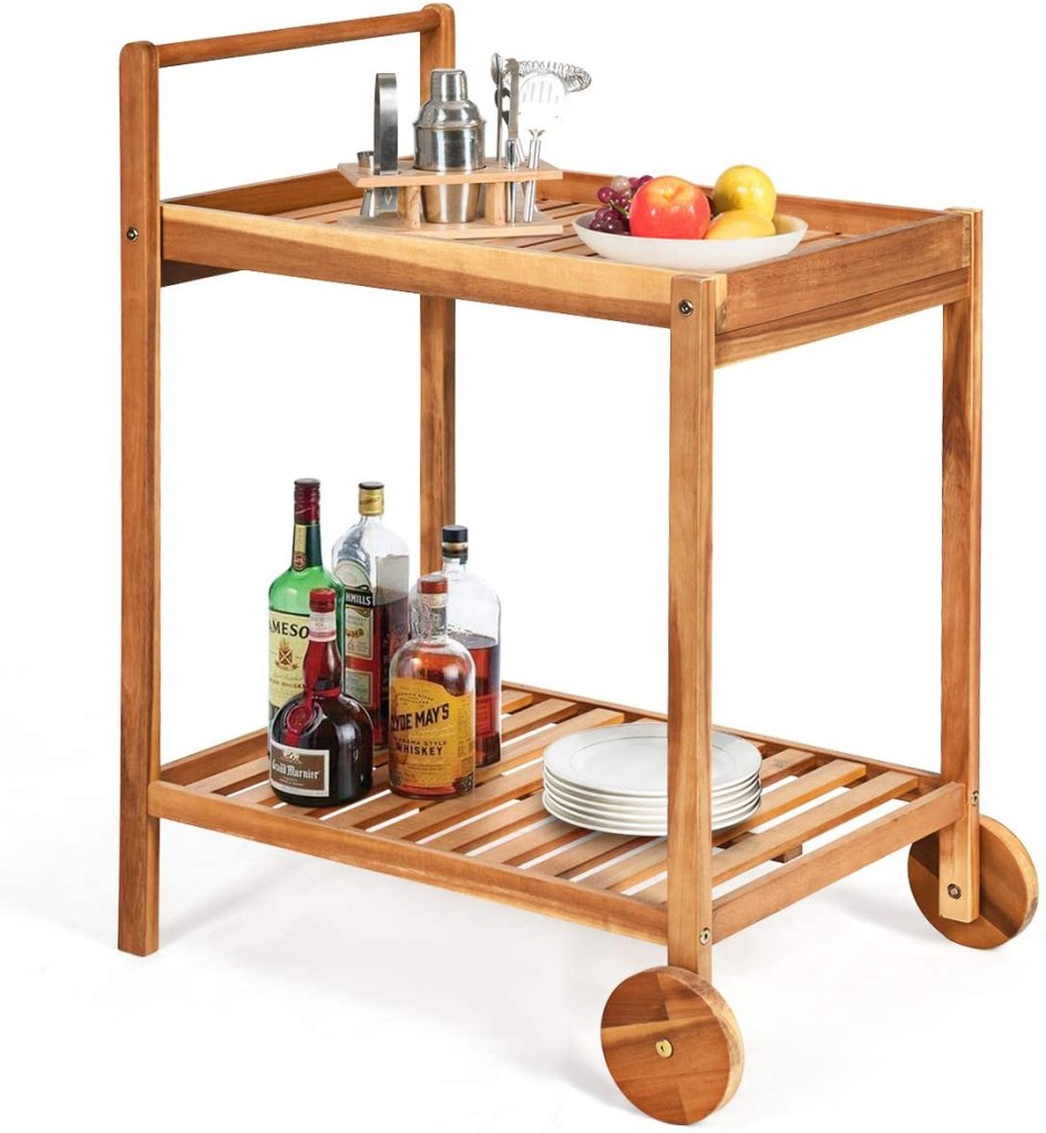 Tangkula Outdoor Acacia Wood Serving Cart, Patio Bar Cart Rolling Trolley Cart with 2 Trays, Portable Kitchen Serving Cart w/Wheels, Ideal for Business,...