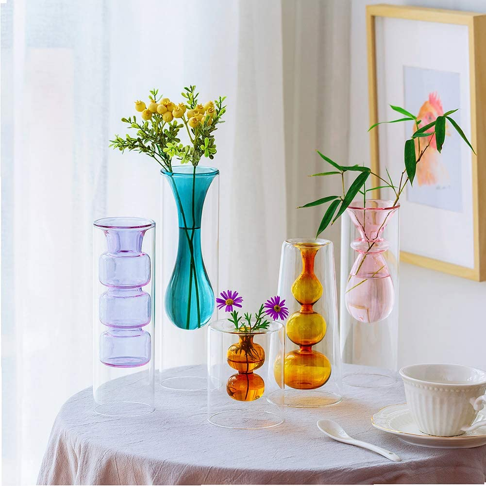 Colored Glass Bud Vase for Flowers, Set of 5 Double Walled Glass Vase, Decorative Creative Crystal Decor Ideal for Tablescape at Weddings, Events, Parties, Floral Centerpieces