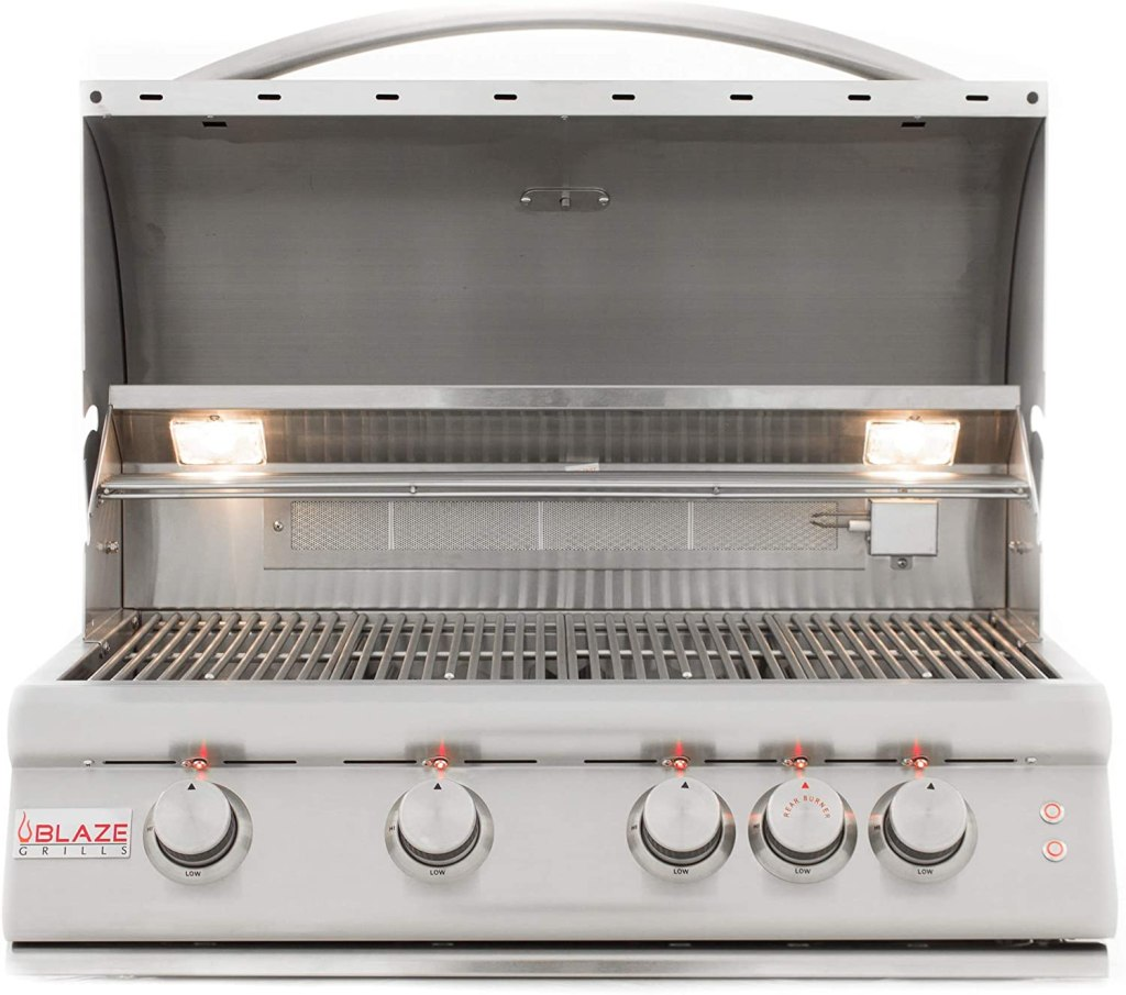 Blaze Grills Intelligent 32-Inch Built-in 4-Burner Natural Gas Outdoor Grill with Accent LED and Halogen Hood Lighting