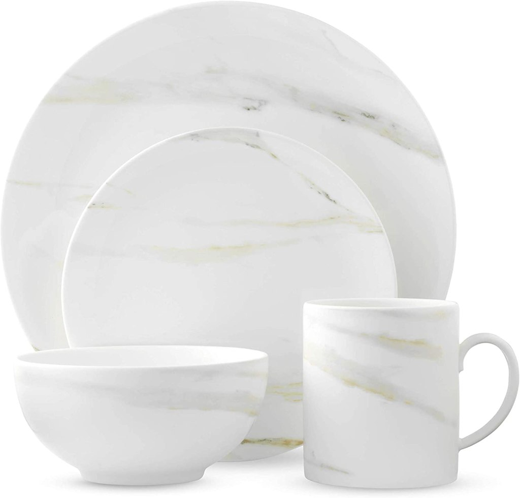 Wedgwood Vera Venato 4 Piece Place Setting, White & Grey bone china
