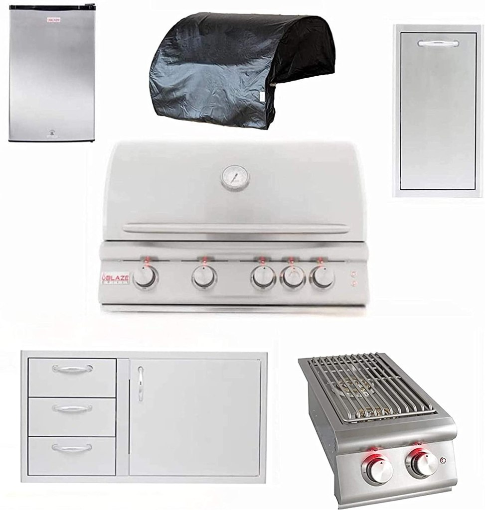 """BLAZE LTE 32"""" 4 Burner Built in Grill, 4 burner Grill Cover, Narrow Trash Drawer, Refrigerator, 39 inch Stainless Steel Access Door & Triple..."""