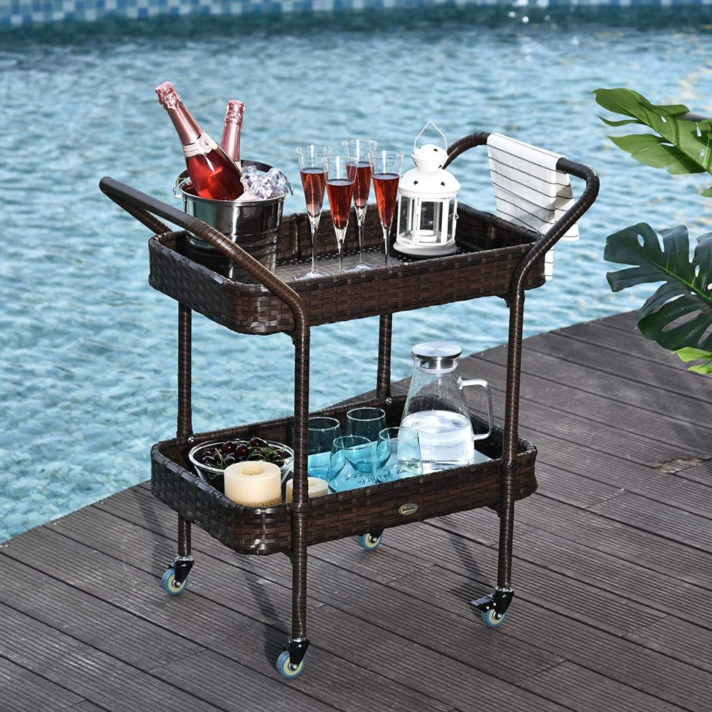 Outsunny Rattan Food and Serving Cart with 4 Wheels and 2-Tiers of Surface Area, Great for Parties, Kitchen, or Utility