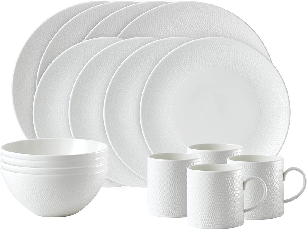 Wedgwood Gio 16-Piece Set, White, bone china