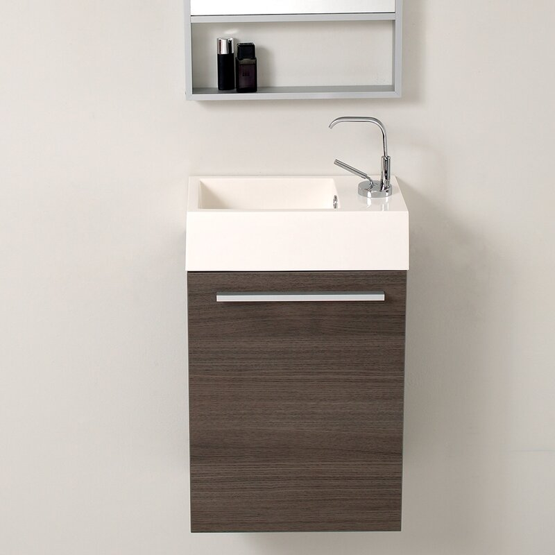 "Berteau 16"" Wall-Mounted Single Bathroom Vanity Set"
