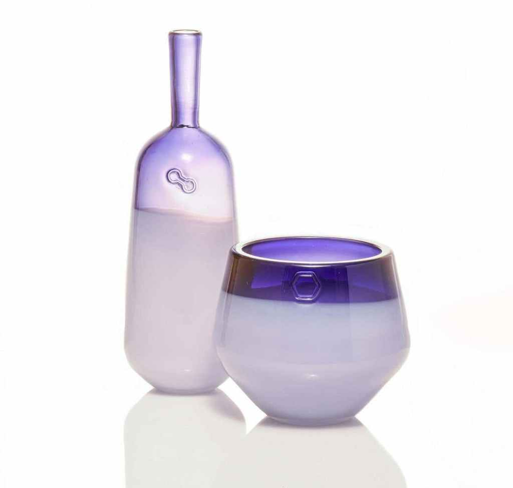 Branded Series in Ruby, Set of Two Handmade Contemporary Glass Vessels