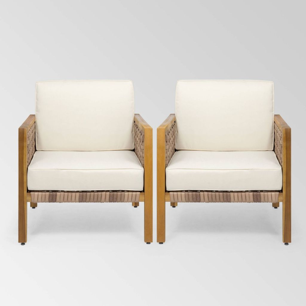 Biltmore Outdoor Acacia Wood Club Chair with Wicker Accents (Set of 2) by Christopher Knight Home