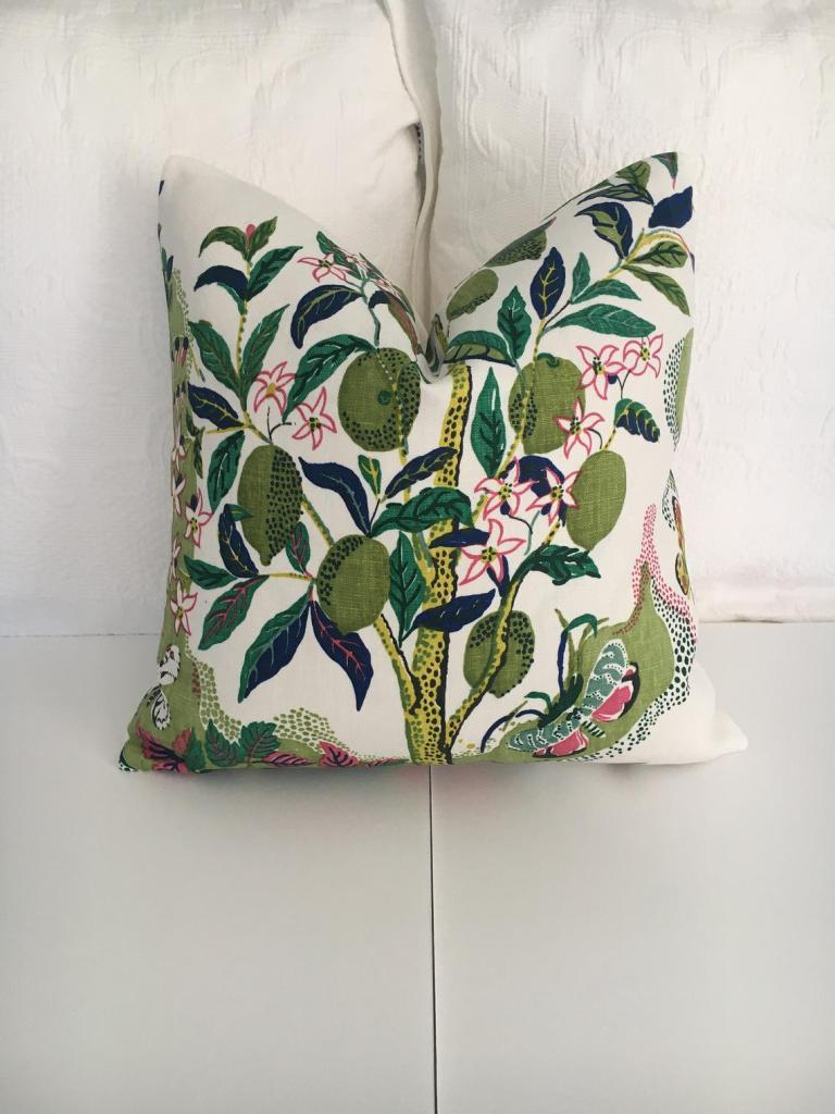 Schumacher Citrus Garden in lime both sides or one high end pillow cover. Floral designer pillow cover. Decorative pillow cover