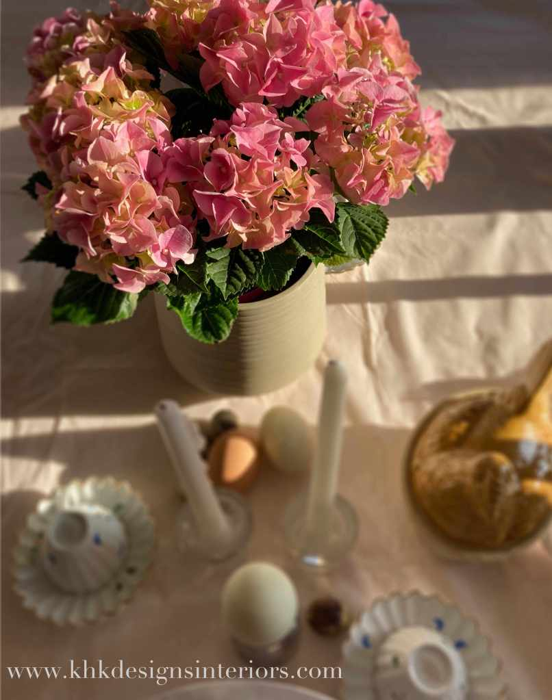 morning Easter tablescape with pink hydrangea