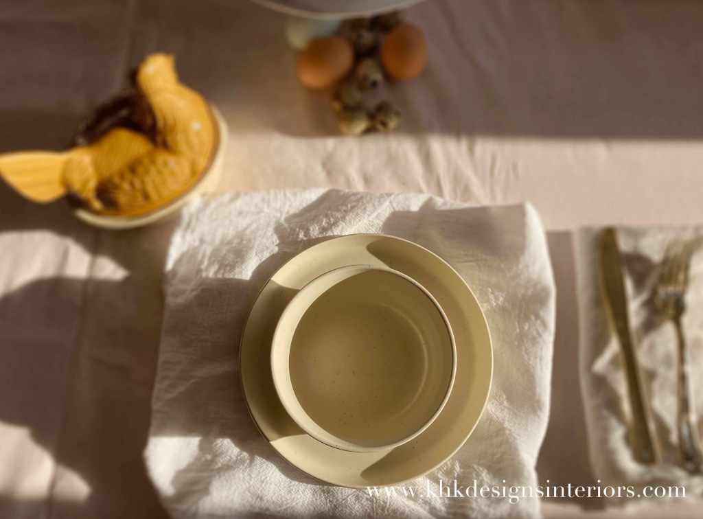 morning Easter tablescape with oatmeal linen and matching color china