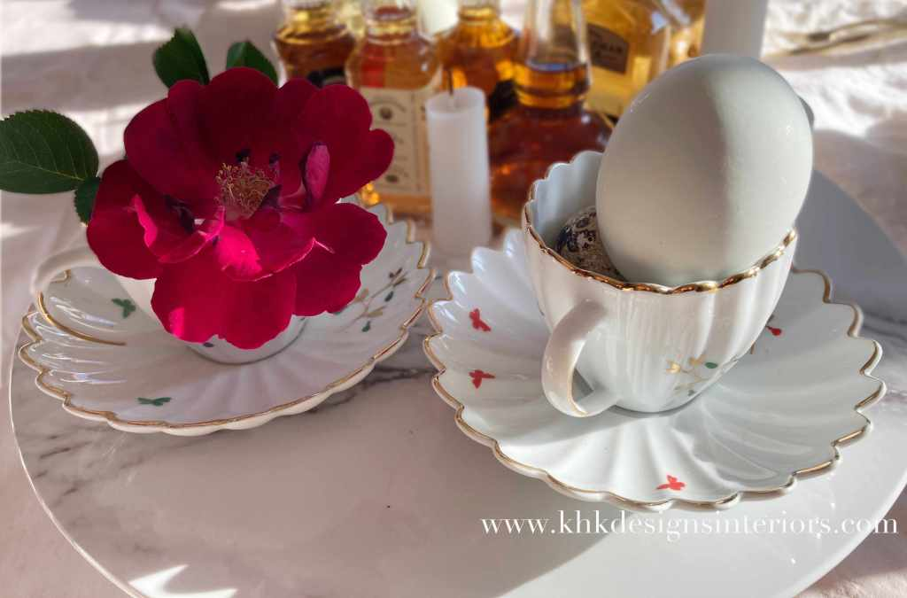 morning Easter tablescape with fine china