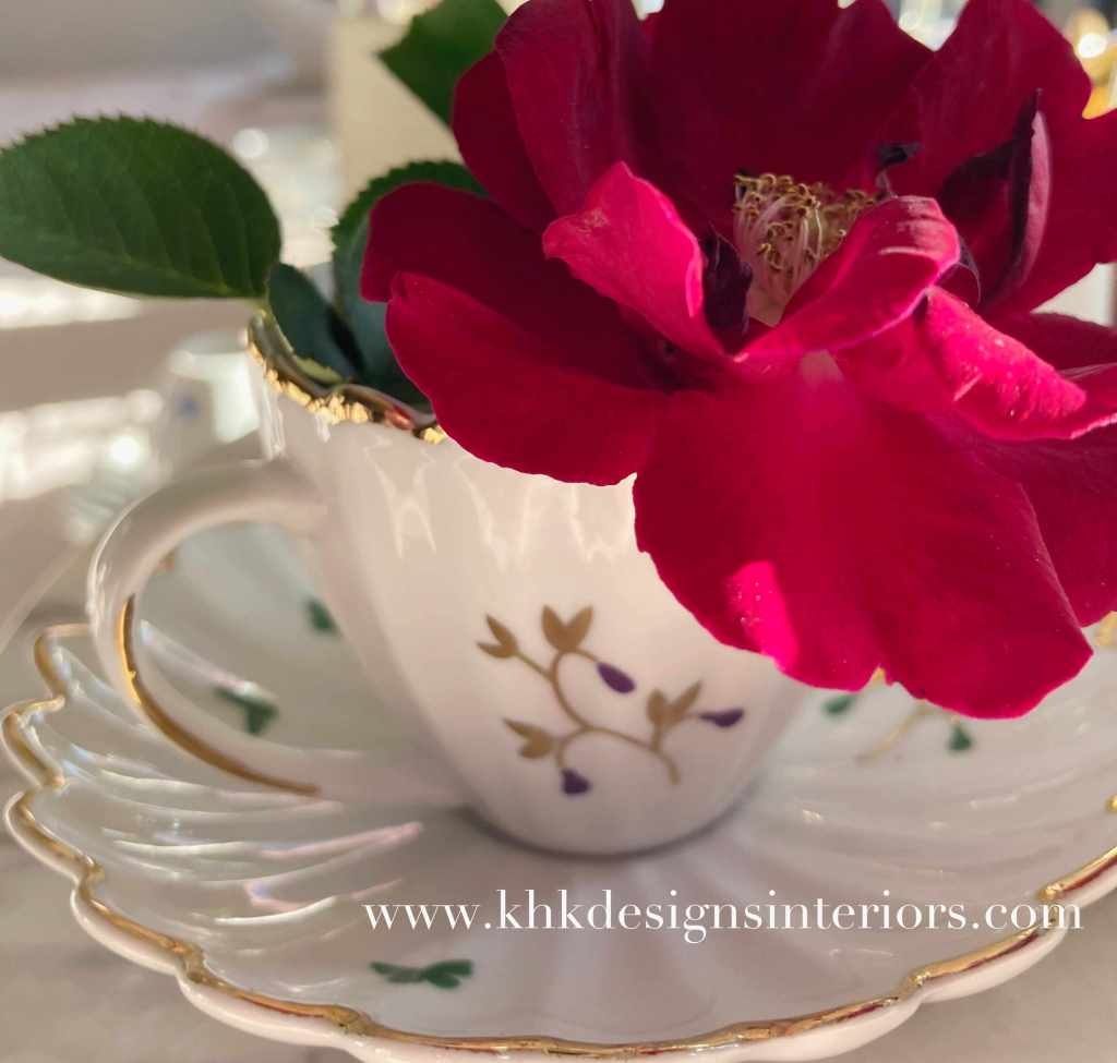 morning Easter tablescape with fine china and roses