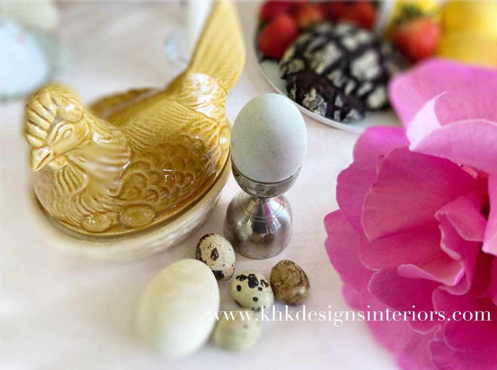 Easter tablescape-pudding and pink roses and earthy-ware