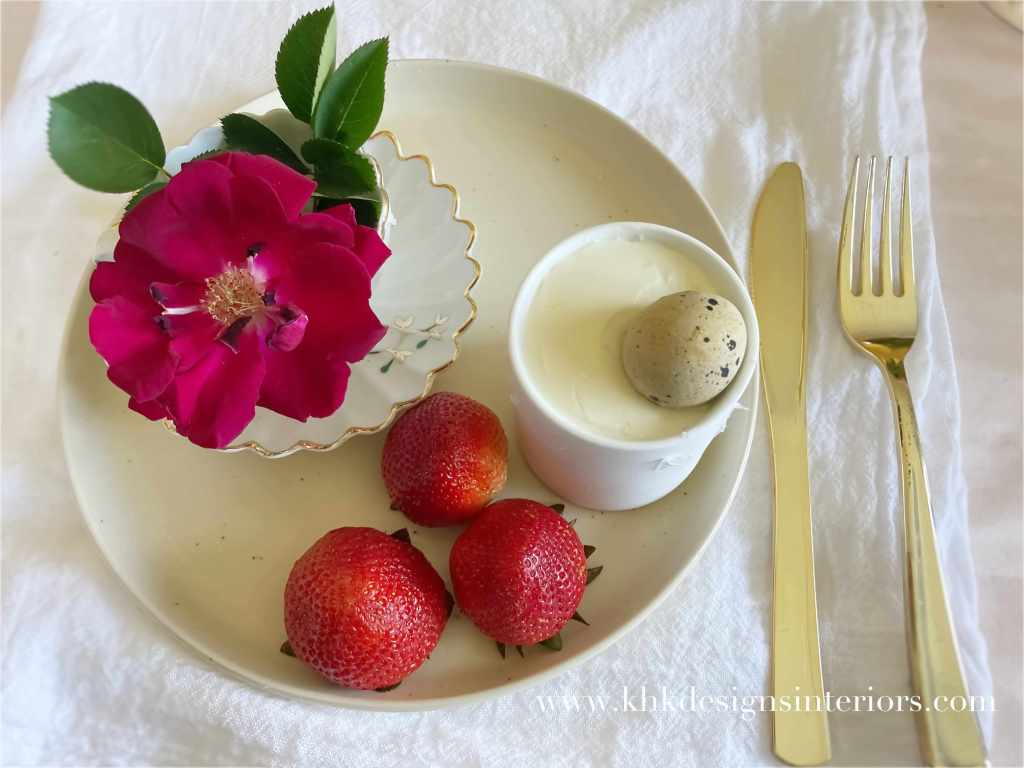 Easter tablescape-pudding and roses and earthy-ware