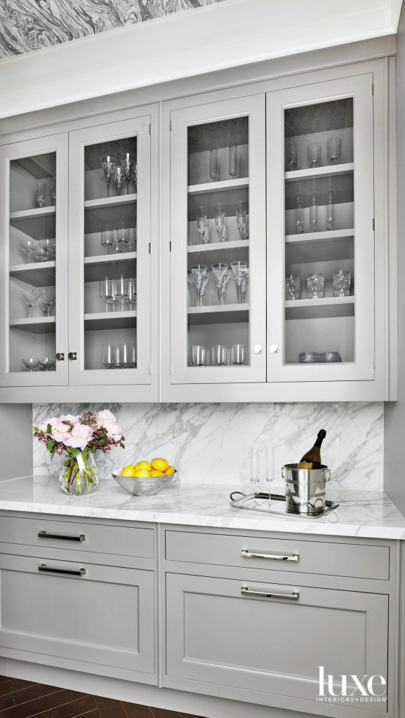 bar station with chic gray cabinetry
