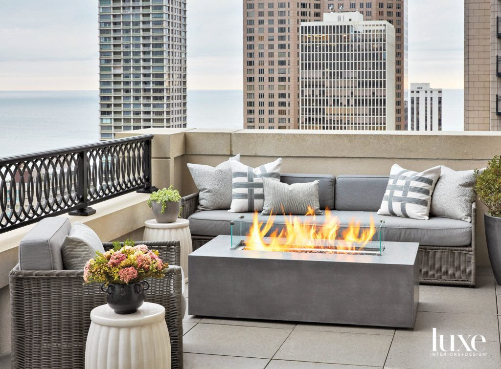 urban outdoor living space with minimalism Furnishings