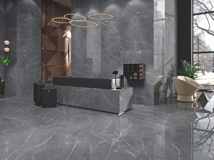 luxe tile with metallics and marble