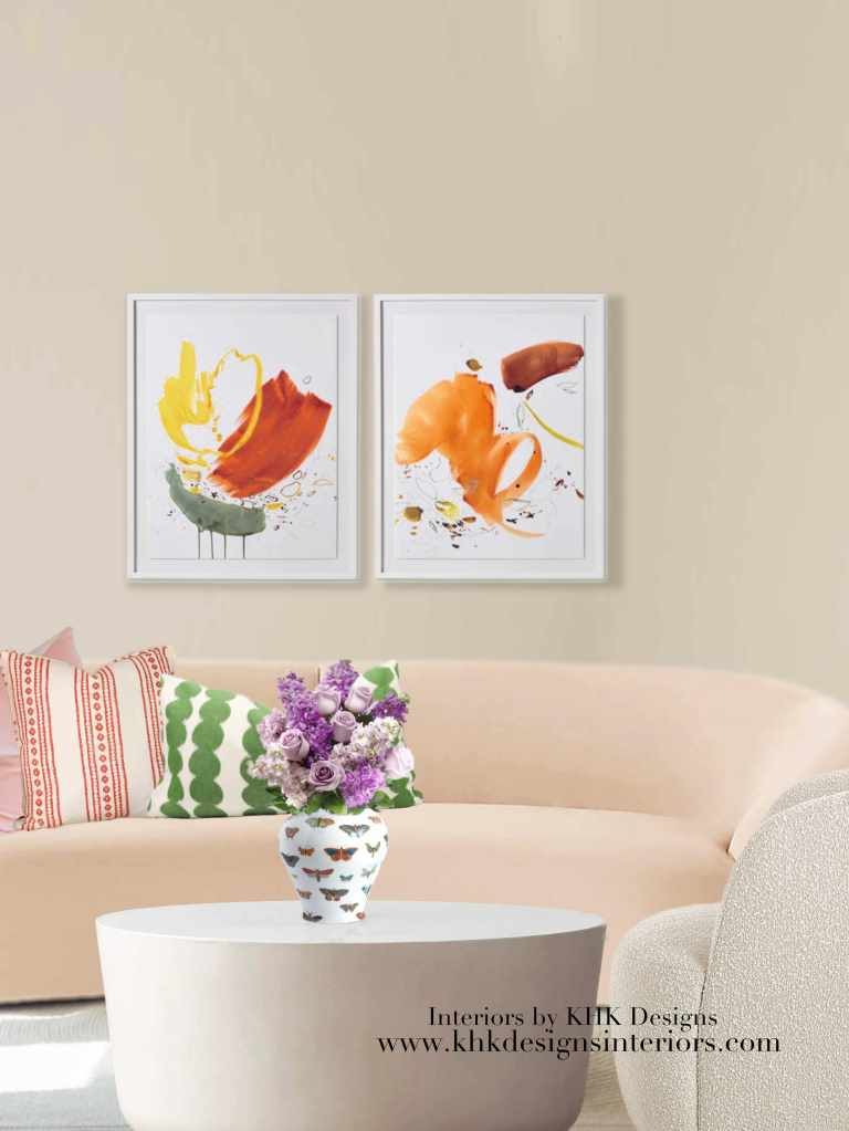 warm-neutral living color with artwork_designer pillow