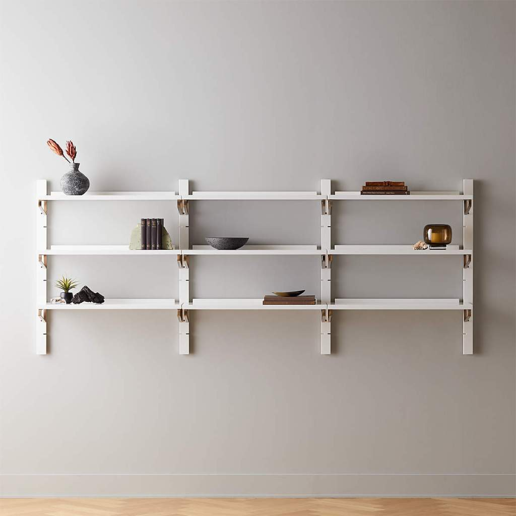 WHITE HIGH-GLOSS TRIPLE MODULAR WALL SHELF 39.5""