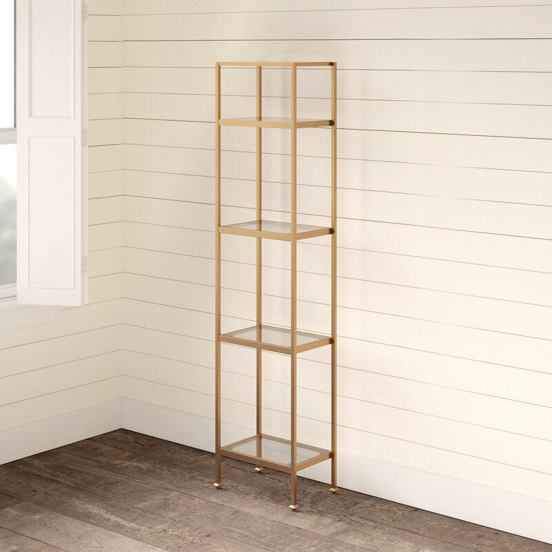 Otha 73'' H x 18'' W Metal And Glass Etagere Bookcase
