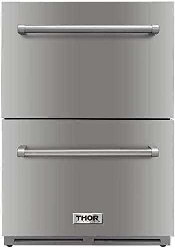 """Thor Kitchen 24"""" Indoor and Outdoor Double Drawer Under-Counter Refrigerator in Stainless Steel 5.3cu.ft TRF2401U -not a Freezer"""