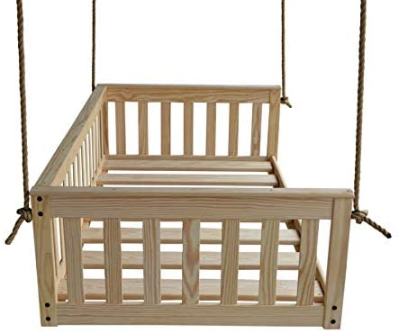A&L Furniture VersaLoft Amish-Made Pine Full Mission Swingbed with Rope, Unfinished