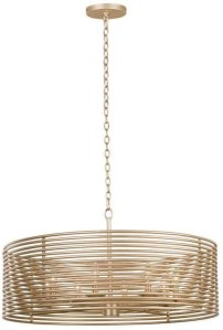 Kalco Lighting Kalco 506453MG Contemporary Modern Eight Light Pendant from Emery Collection in Gold, Champ, Gld Leaf Finish, Multicolor