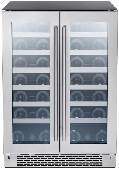 Zephyr Presrv Dual Zone Wine Cooler with Glass French Door. 24 Inch 5.15 cu/ft. Refrigerator for Under Counter, Wine Fridge, 21 bottles, Full-Size Built-In...