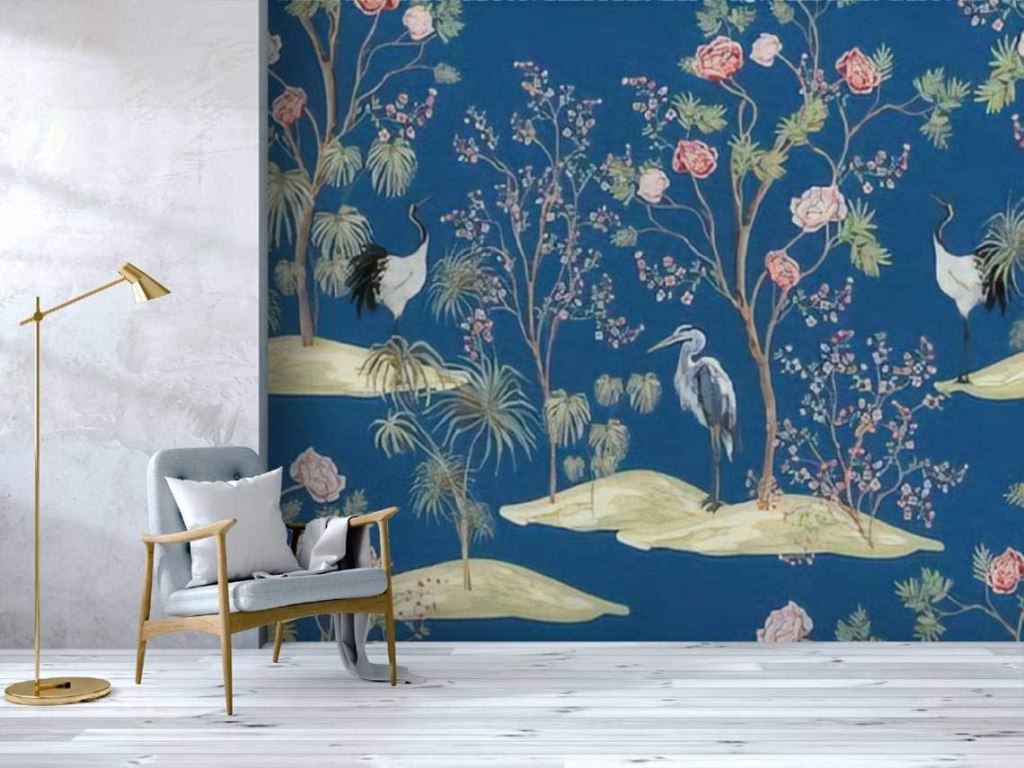 Self Adhesive Wallpaper Roll Paper Beautiful exotic chinoiserie seamless pattern Hand drawn vintage Removable Peel and Stick Wallpaper Decorative Wall Mural...