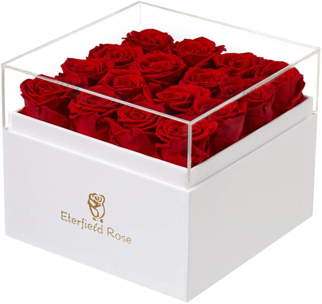 Eterfield Preserved Roses That Last a Year Eternal Rose in a Box Real Rose Without Fragrance Gift for Her (Red Roses, Square White Box)